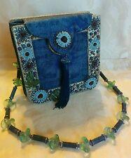 MARY FRANCES Beaded Embellished Ornate Designer Handbag Blue Purse Tassel NWOT!
