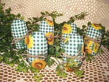 6 handmade sunflower fabric eggs bowl fillers Country Easter Home Decor