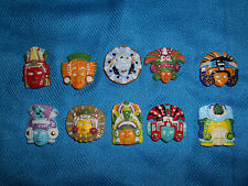MAYAN MASKS Mexican Aztec Set 10 Miniature Figurines FRENCH Mini Porcelain FEVES