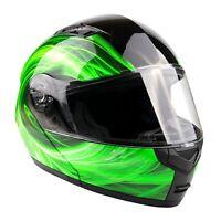 Adult Green Swirl Modular Helmet Flip Up Motorcycle DOT Integrated Sun Visor