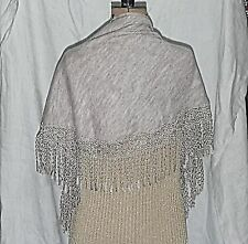 WAREHOUSE LAGENLOOK ECRU MARL CURVED CROCHET TRIM SCARF SHAWL WRAP STOLE SHRUG