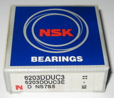 NSK 6203 Deep Groove Single Row Ball Bearing - 40 mm OD - 17 mm ID - Double Seal