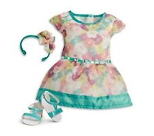NEW American Girl Doll Clothes BRIGHT BLOOMS DRESS Floral Headband Shoes Box