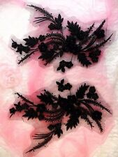 "Embroidered 3D Dance Appliques Black Floral Mirror Pair 13"" (DH76)"