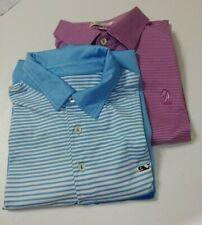 Vineyard Vines Peter Millar Mens SS Polo Golf Shirts Lot of 2 Medium EUC