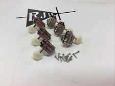 Epiphone Deluxe Tuners Tuning Keys Pegs Heads White Nickel Button 3 Per Side