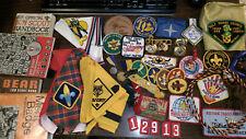 MAKE OFFER Lot Boy Scout Webelos Cub Leader Merit Patches Pins Books Bolo Slides