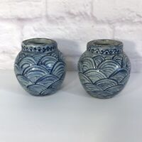 "Pair of  Vintage Blue & White Glaze Art Pottery Stoneware Wave Vases 4""  Japan ?"