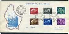 LUXEMBOURG 1954 series 484/489, obliterated, on FDC