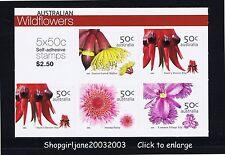 Australian Wildflowers booklet/sheetlet of 5 peel & stick P&S $2.50 - 2005 - MNH