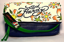 ED HARDY ($89.) NEW Shoulder bag-Clutch-Purse-Wallet-Florals on Canvas  NWT.