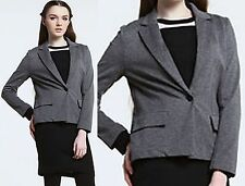$245 LACOSTE 2 34 Knitted Grey Cropped Jacket Blazer Women Coat Lady Gift NEW