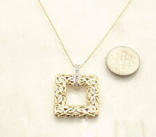 Natural Diamond Accent Square Byzantine Pendant Cable Chain Real 14K Yellow Gold