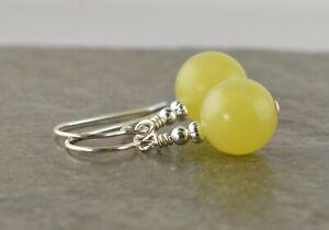 Large 10mm Lemon Yellow Jasper Gemstone Sterling Silver Drop Earrings + Gift Box