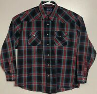Vintage 1980s Sasson Western Shirt Pearl Snap Long Sleeve Mens Size XL Red Green