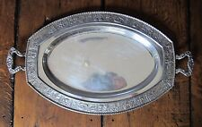 Dutch Silver Reproduction Happy Village Motif Two Handled Tray