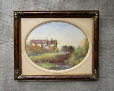 Très belle aquarelle ancienne non signée, tableau encadré, pont romain XIXe.
