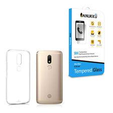 Custodia Cover Trasparente Anukku + Vetro Temperato Per Motorola Moto M