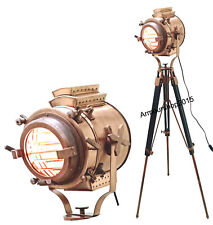 Floor  nautical brass finish spot search lamp designer light with tripod stand