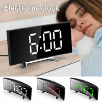 Digital Electric LED Alarm Clock USB/Battery Powered Mirror Design Large Display