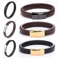 Fashion Men Handmade Braided Leather Bracelet Stainless Steel Cuff Bangle Gift