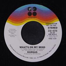 KANSAS: What's On My Mind / Mono 45 (dj) Rock & Pop