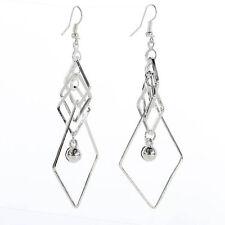 Silver Plateado geométricas pendientes-en forma de diamante