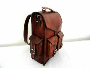 Backpack Rucksack Messenger Bag Men's Genuine Leather Vintage Laptop Satchel