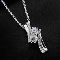 "3/4Ct Forever Us Two Stone Diamond Pendant 14K White Gold Finish With 18"" Chain"