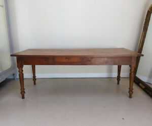 ANTIQUE FRENCH SOLID CHERRYWOOD FARMHOUSE TABLE c1880s.