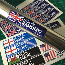 Personalised Golf Club Decal Labels 40x10mm Any Flag & Name - Any Colour