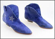 ELLE EFFE WOMEN'S ANKLE HIGH BLUE SUEDE VINTAGE BOOTS SHOES SIZE 8