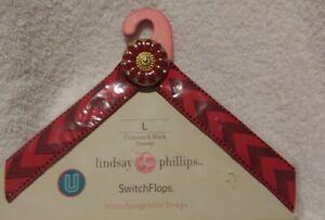 "Lindsay Phillips ""Crimson & Black Chevron"" SwitchFlops Interchangeable Size Lg"