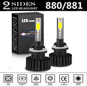 2x 880 881 H27 LED Headlight Bulbs Kit 80W 14000LM Fog Driving Light 6500K White