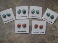 Navajo Made Arizona Turquoise or Coral Sterling Post Earrings E81 - E85
