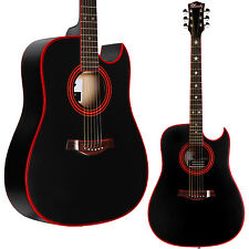 Lindo Matte Black Widow Acoustic Guitar & Gig Bag & Accessories Red Rosewood