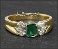 Diamant Brillant & Smaragd Damen 750 Gold Ring, 1ct Edelsteine, Handarbeit