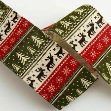 Wired Edge Ribbon 60mm Christmas Reindeer Stag Jute Xmas Festive