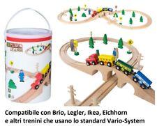Trenino in legno Play and Learn bidone con treno locomotiva vagoni rotaie