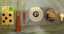 Vintage Sewing Hand Tools. Wood Handle. Needles and buttons Lot