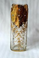 Antique Bohemian Moser Art Glass enamel and gold vase c 1880