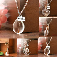 Womens Real In Glass Wish Bottle Chain Necklace Pendant Gift