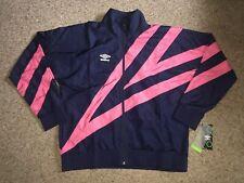 Umbro Vintage Looking Retro Windbreaker Jacket Mens Size Large Navy Pink