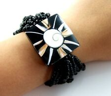 "1.2"" Flower Cone Shell Shiva Eye Beads Stretch bracelet 6""-9"" adjustable ; GA120"