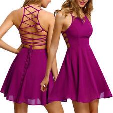 Women Sleeveless Backless Lace Up Cocktail Beach Dress Short Skater Dress CA