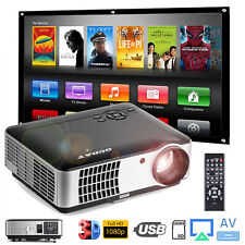 3D Full HD 1080i Mini Projector LED Home Theater USB VGA HDMI Link For Apple TV