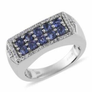 Catalina Iolite & Zircon Men's Ring in Platinum Over 925 SS, Size 12, 1.50 ctw.