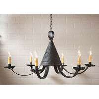 Six-arm Punched Tin Pennycress Chandelier in Textured Black - Country Tinware