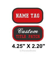 """Custom Embroidered Name Tag Title Patch Motorcycle Biker Badge 4.25"""" X 2.20"""" (C)"""