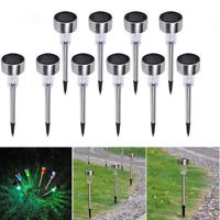 10PCS Garden Outdoor Stainless Steel LED Solar Landscape Path Lights Yard Lamp